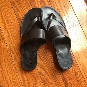 Seychelles Black Leather Sandals